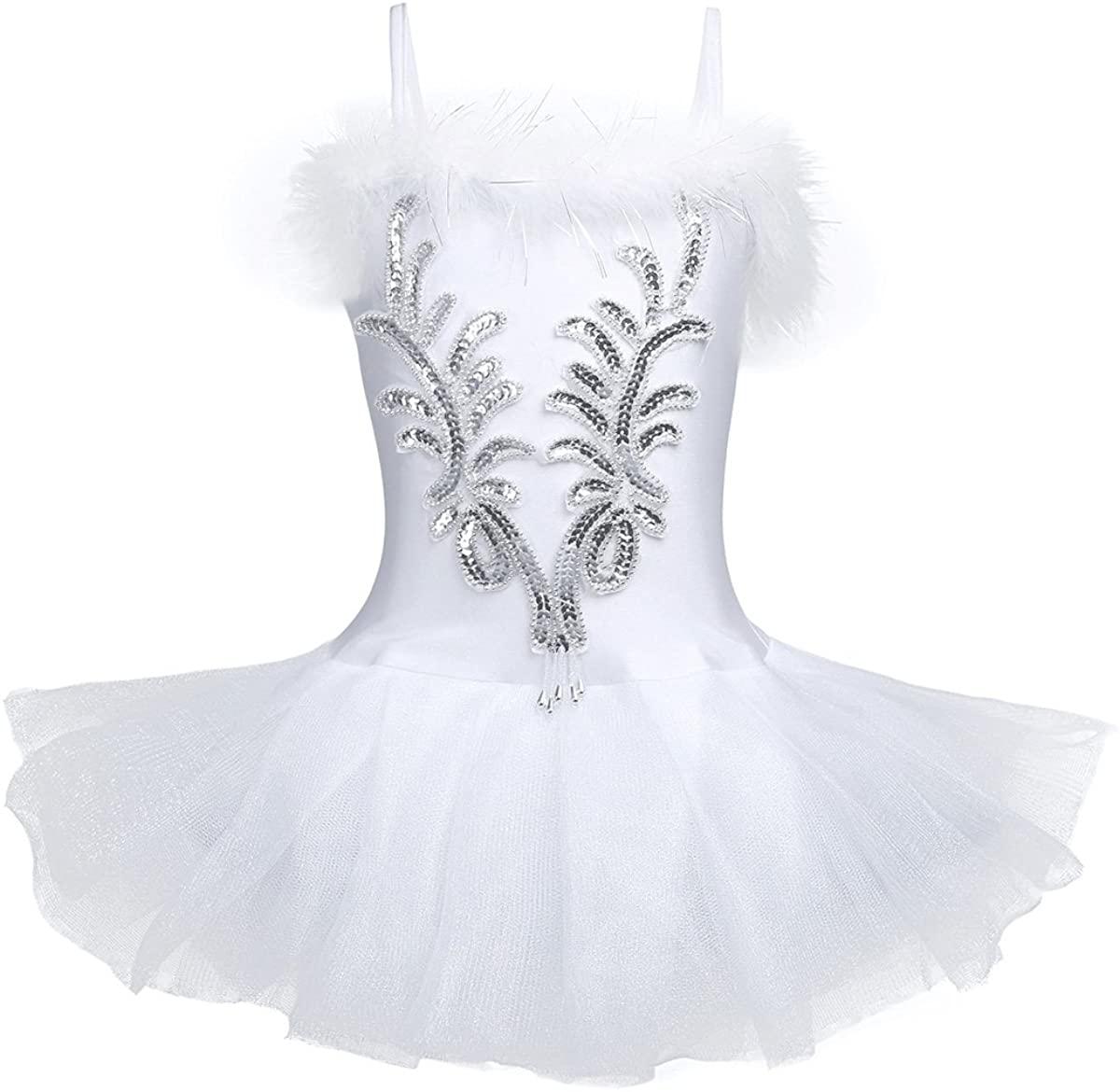 iEFiEL Girls Sequins Beads Ballet Leotard Tutu Dress Swan Dance Costume with Gloves Hair Clip