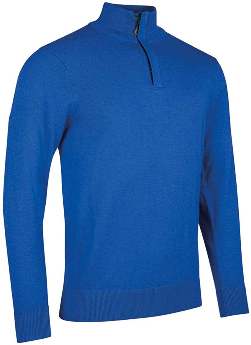 Glenmuir Mens MKC7467ZN Cotton Cashmere Zip Neck Golf Sweater with Tartan Placket