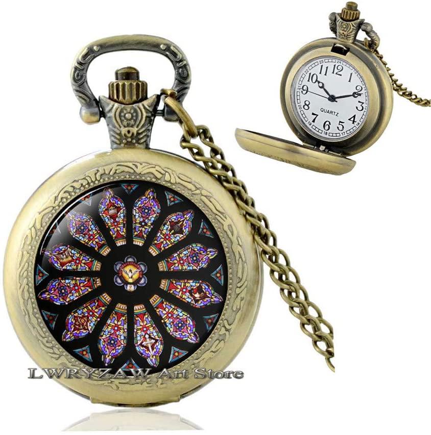 Rose Window Pendant, Gothic Cathedral, Gothic Style Pocket Watch Necklace, Gothic Rose Window, Gothic Rose Pendant, Catholic, Christian Jewelry,M326