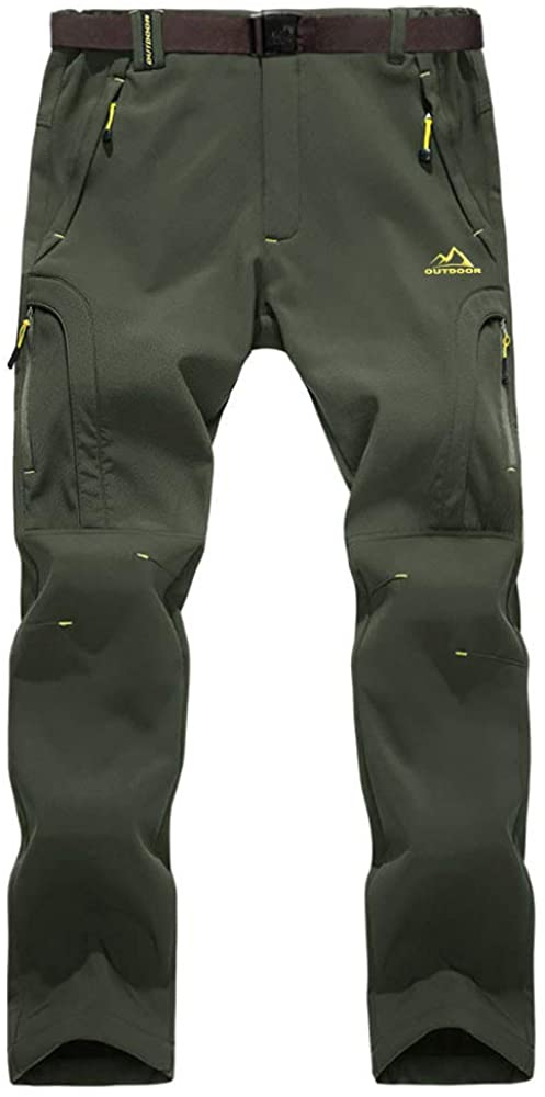 BIYLACLESEN Men's Winter Pants Windproof Fleece-Lined Softshell Hiking Snowboard Pants