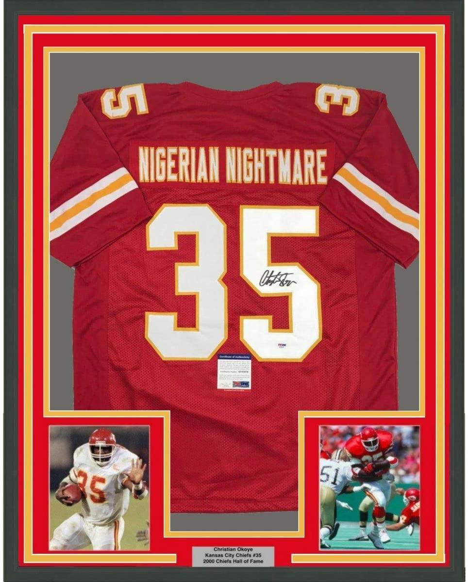 Framed Autographed/Signed Christian Okoye 33x42 Nigerian Nightmare Kansas City Red Football Jersey PSA/DNA COA