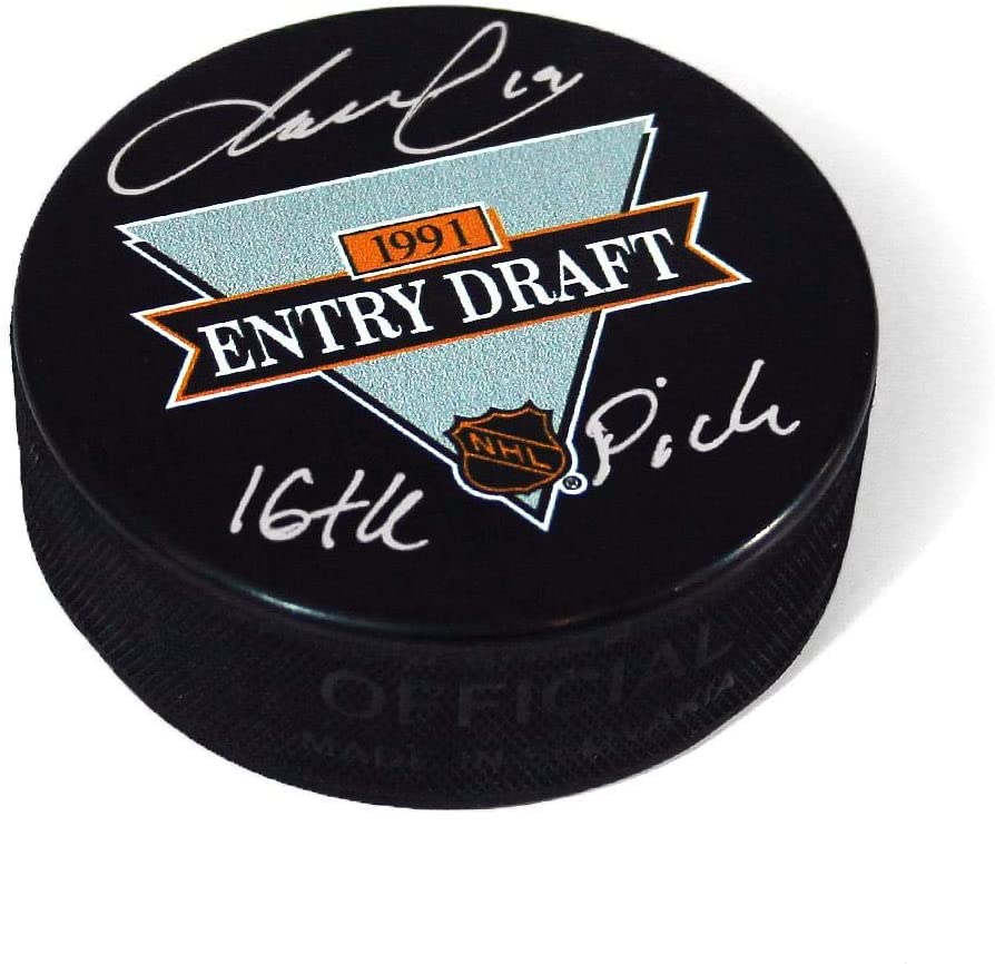 Markus Naslund Autographed Puck - 1991 NHL Draft Day 16th Pick Note - Autographed NHL Pucks