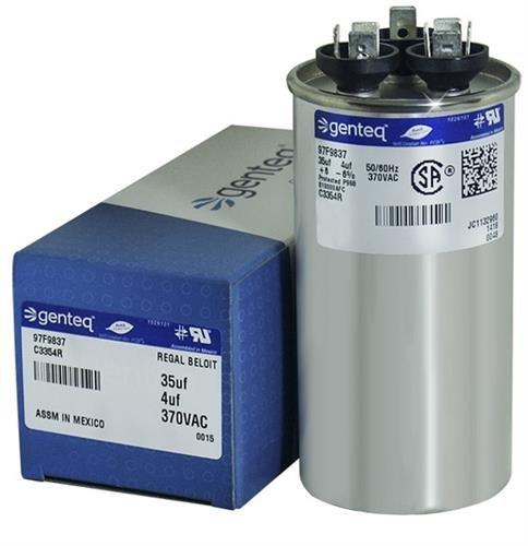 97F9837-35 + 4 uf MFD 370 Volt VAC - GE Round Dual Run Capacitor Upgrade