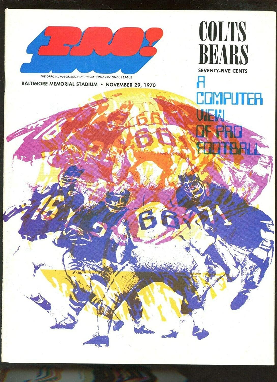 November 29 1970 NFL Program Chicago Bears at Baltimore Colts EXMT+ - NFL Programs