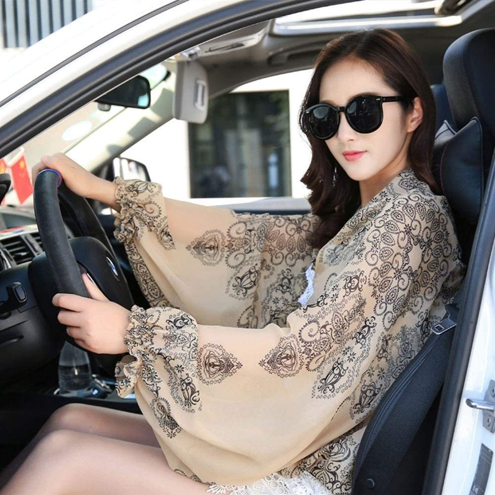 Spring and Summer Ladies Sun Protection UV Gloves Sleeves Sleeves Driving Riding Chiffon Cloak Air Conditioning Shawl Blue White Porcelain Coffee