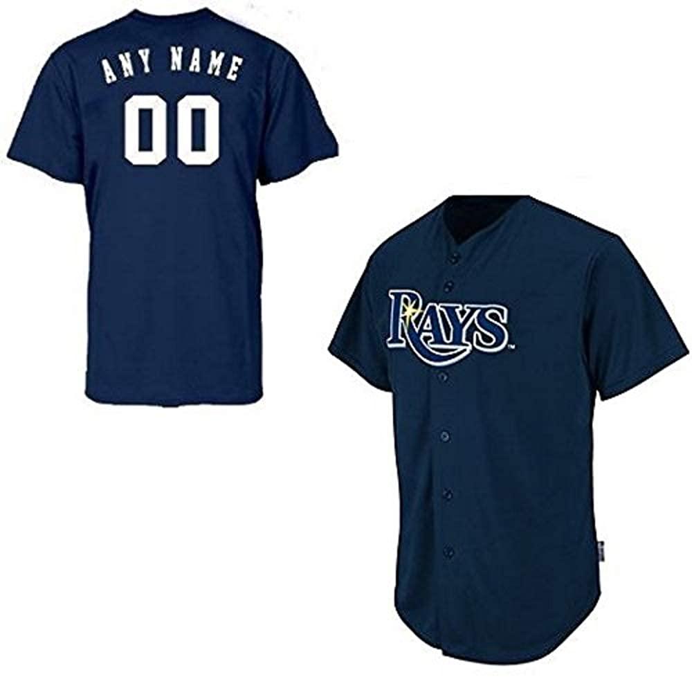 Adult XL Tampa Bay Rays Customized Major League Baseball Cool-Base Replica MLB Jersey Navy Blue