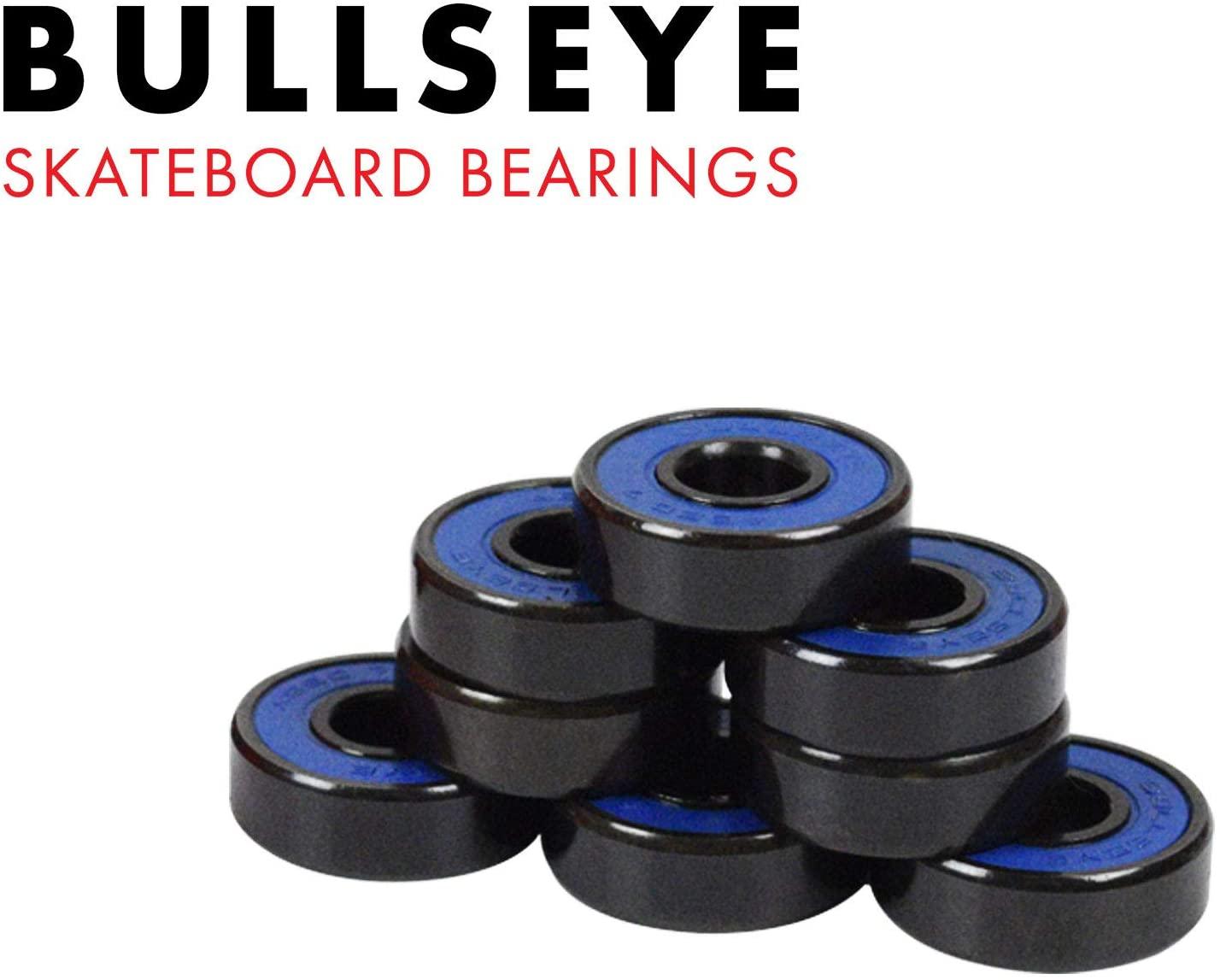 Bullseye Skateboard Bearings ABEC 7 Rated Set 8 Chrome Serviceable Ball Bearings