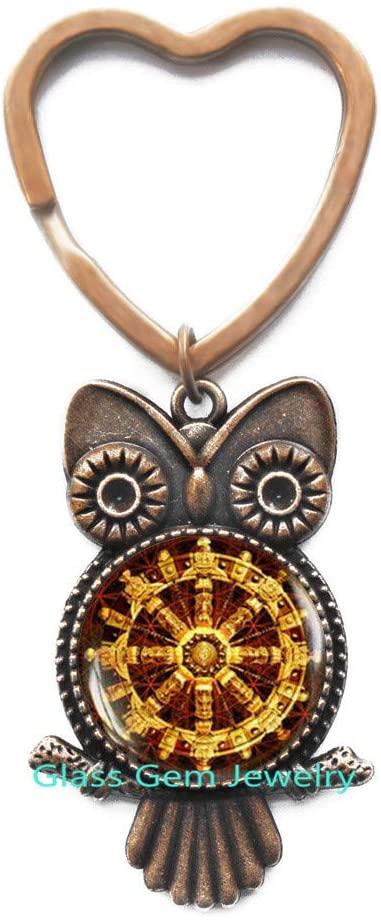 Buddhist Dharma Wheel Owl Keychain, Buddhism Owl Keychain Buddhist Jewelry, Mandala Owl Keychain, Sacred Geometry Owl Keychain, Meditation Owl Keychain,Q0017