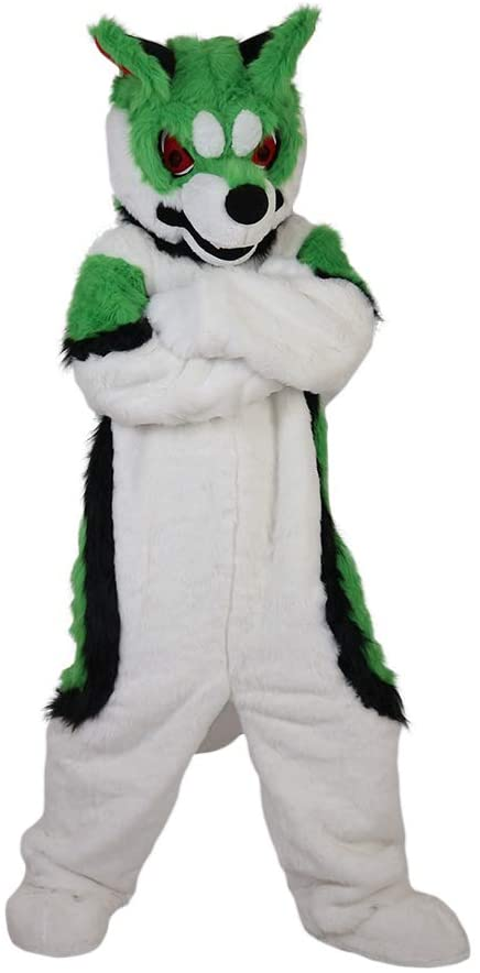 Green Fox Dog, Husky Cartoon Costume Mascot Plush with Mask for Adult Cosplay Party Halloween Dress Up