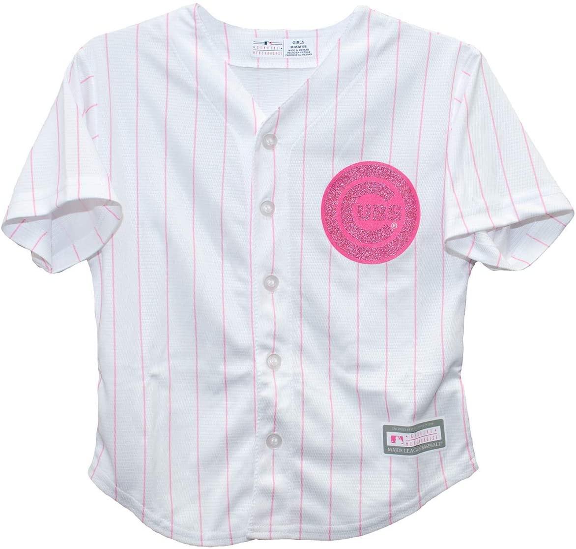 Outerstuff Chicago Cubs Pink Glitter Logo Cool Base Preschool Jersey