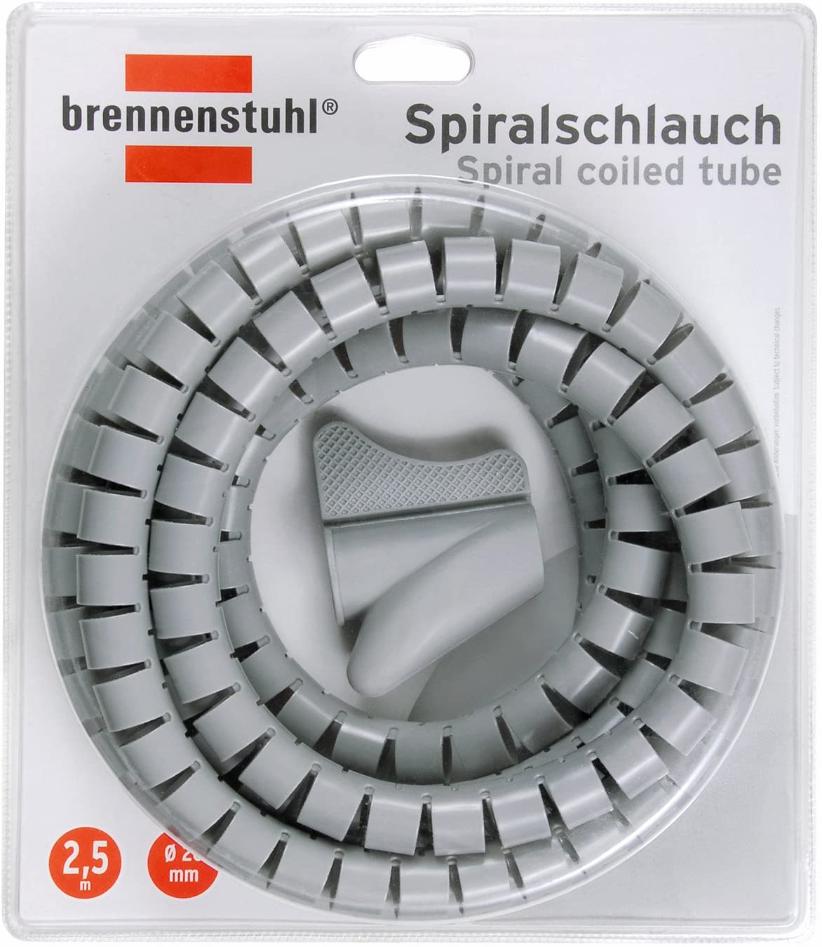 Brennenstuhl Cable Protection Spiral Tube 2.5m x 20mm Grey