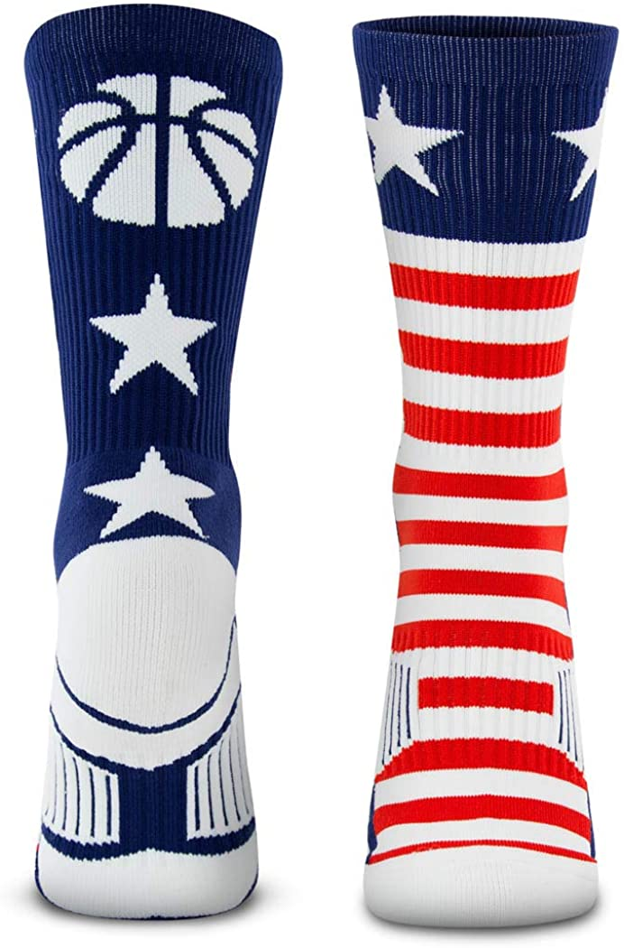 Basketball Woven Mid-Calf Socks | Patriotic Stars and Stripes