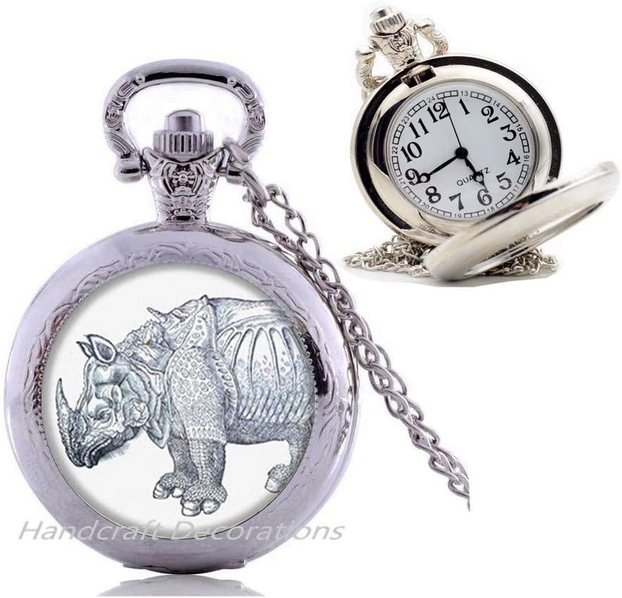 HandcraftDecorations Rhino Pocket Watch Necklace,Rhinoceros Pocket Watch Necklace,Rhino Jewelry,Rhinoceros Jewelry,Rhino Pendant Jewelry,Charm Pocket Watch Necklace.F252