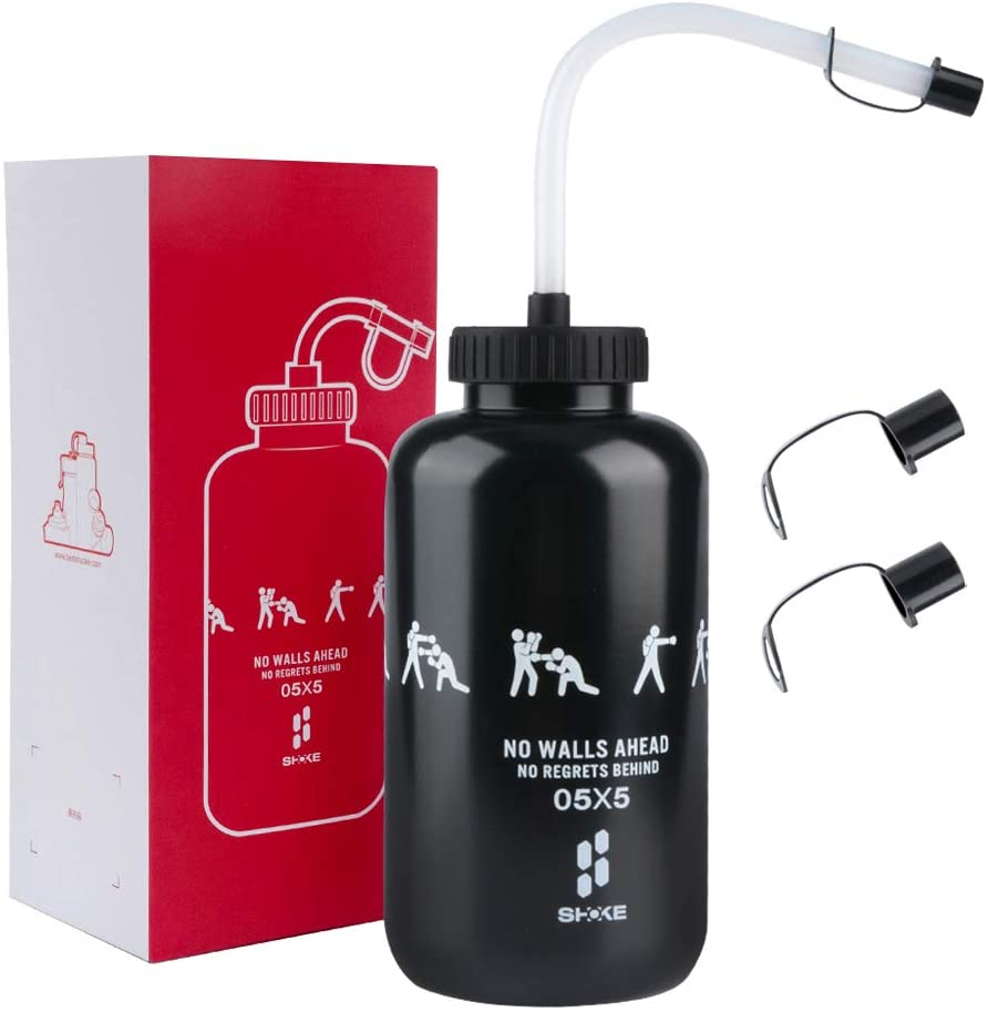 SHOKE Hockey Boxing Easy Squeezable Water Bottle with Long Flexible Straw&Spray Cap, 1 Liter Sports Lacrosse Goalie Water Bottles BPA Free Perfect for Football Gym Baseball Cycling Fitness Yoga