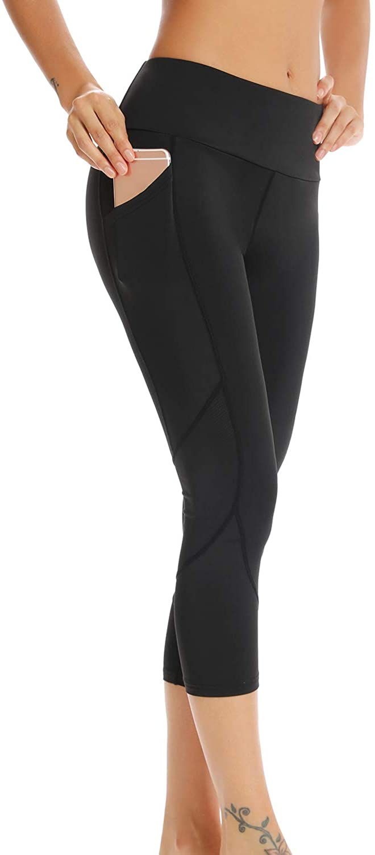 CAWANFLY Women's High Waist Yoga Pants with Pockets, Tummy Control Workout Running Mesh Yoga Capri Leggings