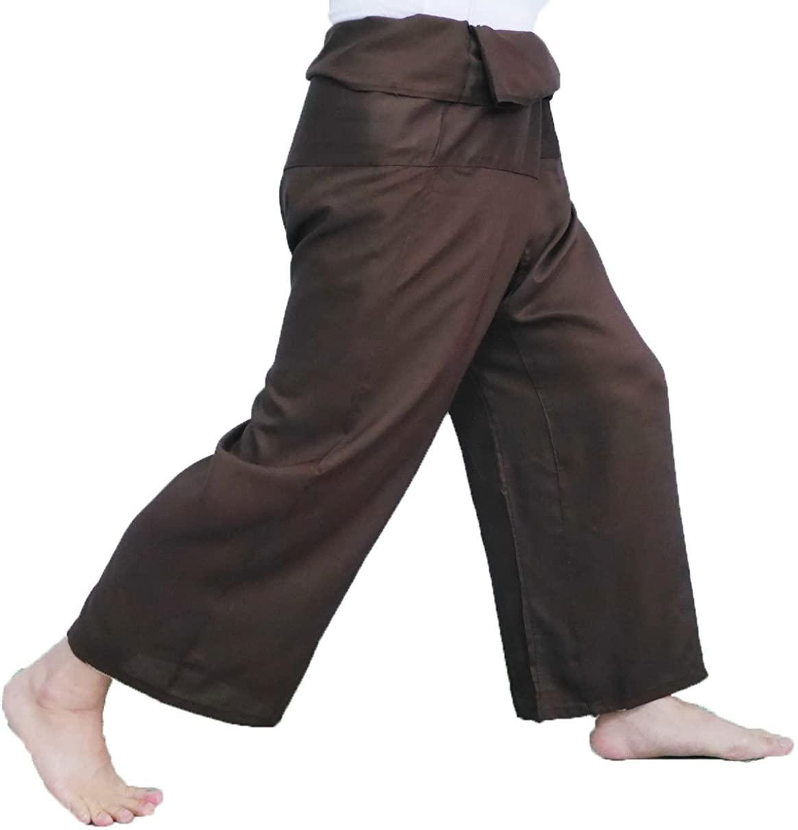 Brown Rayon - Men Women Thai Fisherman Pants Yoga  Trousers by Thai Spicy Free Size