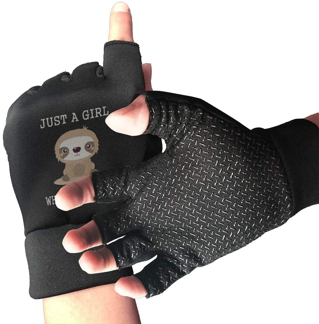 Belindaa Just A Girl Who Loves Sloths Unisex Outdoor Sports Cycling Shockproof Half Finger Non-Slip Gloves for Fishing Driving Roller Hunting Climbing Gloves
