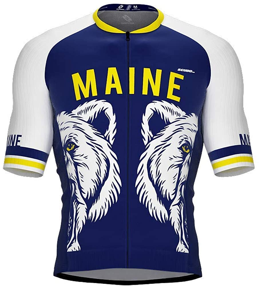 ScudoPro Pro-Elite Short Sleeve Cycling Jersey Maine USA State Icon Landmark Symbol Identity for Men