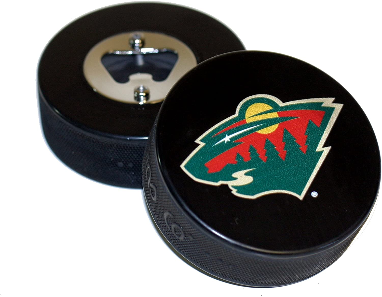 EBINGERS PLACE Minnesota Wild Basic Logo Hockey NHL Puck Bottle Opener