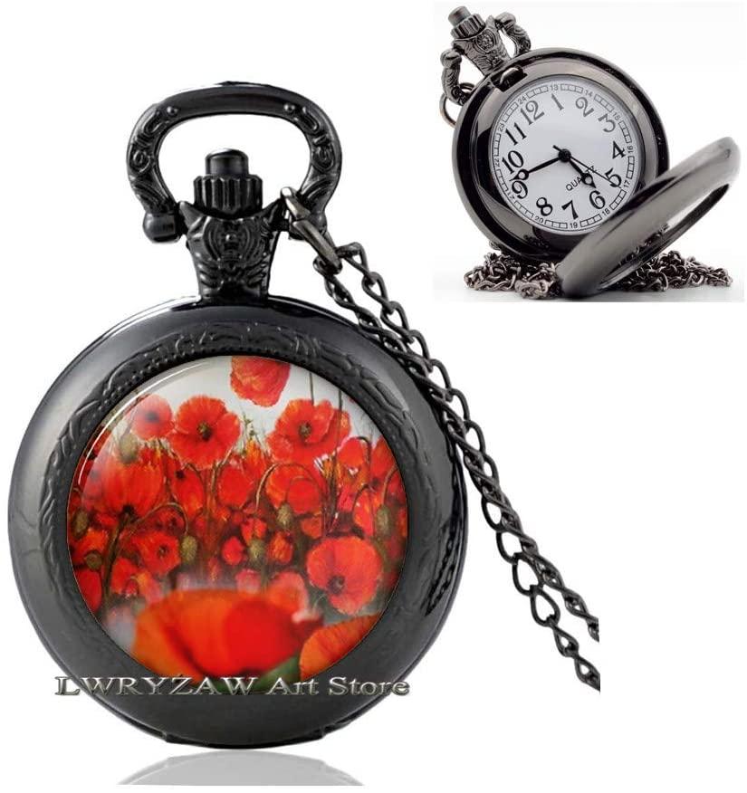 Poppy Pendant, Poppy Pocket Watch Necklace,Poppy Jewelry,Remembrance Pendant,Poppy Jewellery,Simple Pocket Watch Necklace,Handmade Pocket Watch Necklace,M276