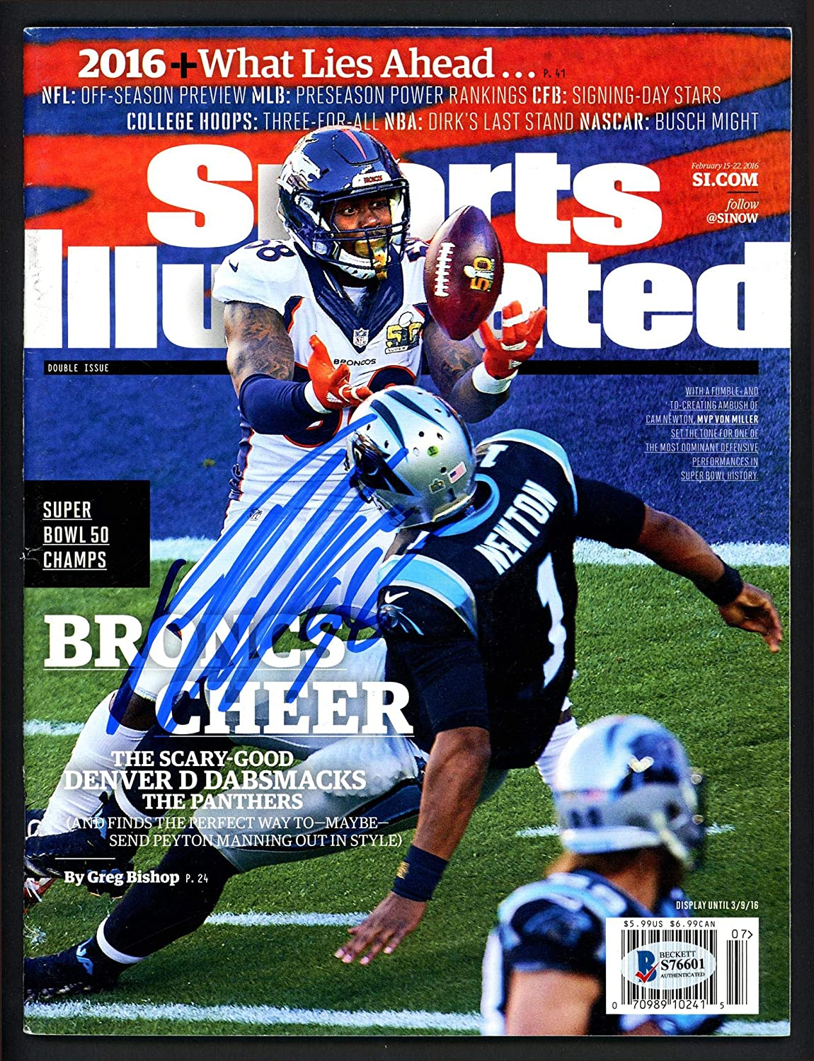 Von Miller Autographed Sports Illustrated Magazine Denver Broncos No Label Beckett BAS #S76601 - Beckett Authentication