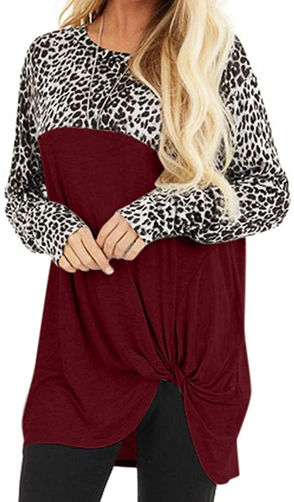 Women's Fashion Long Round Neck Long Sleeve Paneled Leopard Print Knot Tops