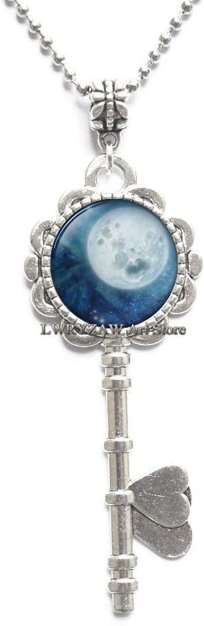 Full Moon Key Necklace Blue Moon Pendant Space Galaxy Grey Moon Jewelry Key Necklace for Men Art Gifts for Her Space Pendant Moon Key Necklace,M268