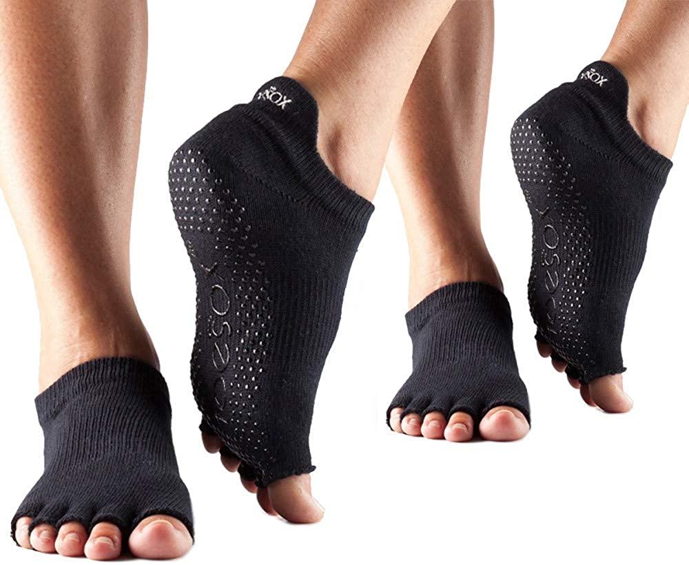 toesox Multi Pack Grip Pilates Barre Yoga Socks – Non-Slip Low Rise Half Toe