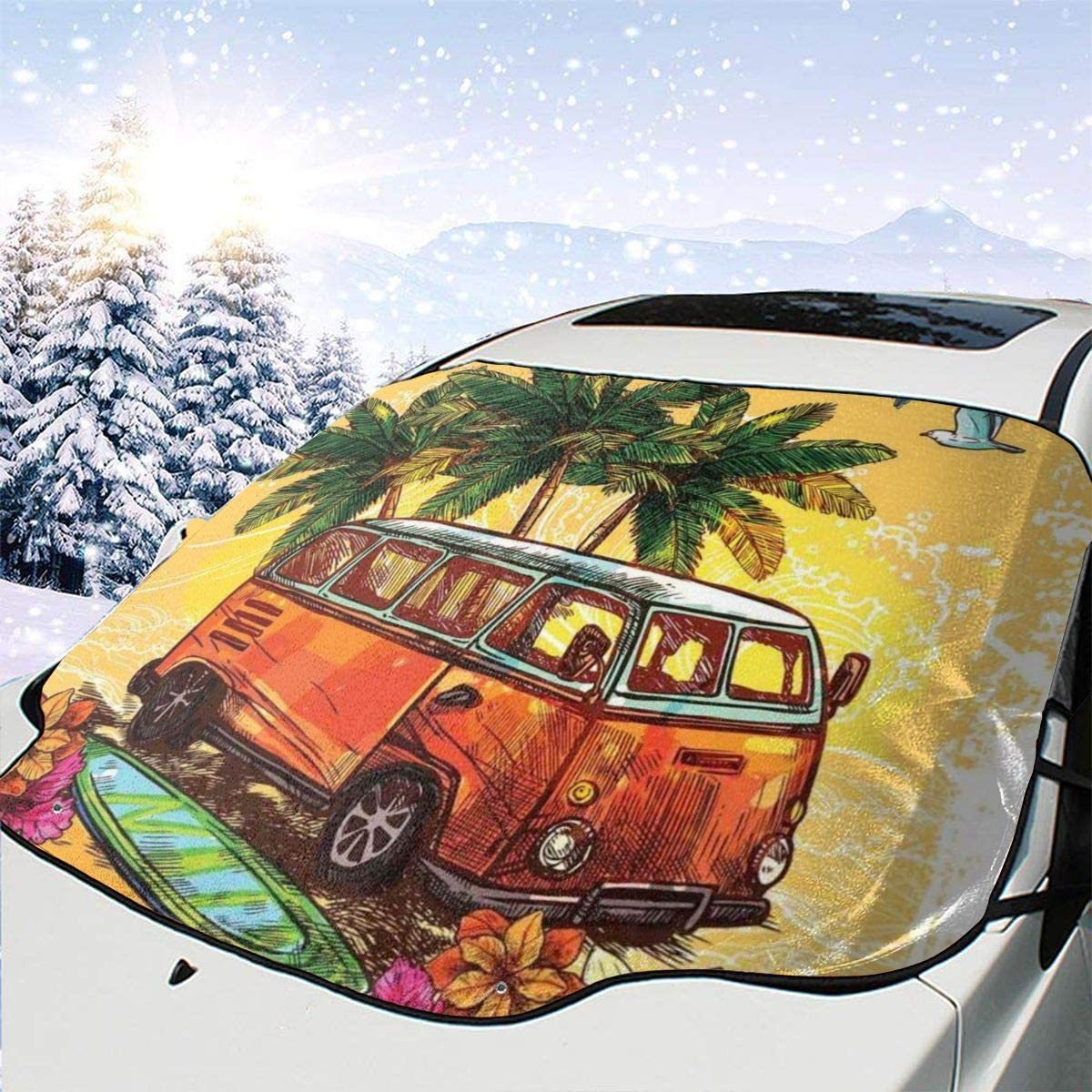 Pillow Bags Hippie Classic Old Bus with Surfboard Freedom Holiday Exotic Life Sketchy Art One Size Car Front Windshield Cover Foldable Sunshade Fits Most Cars, Trucks, SUV's