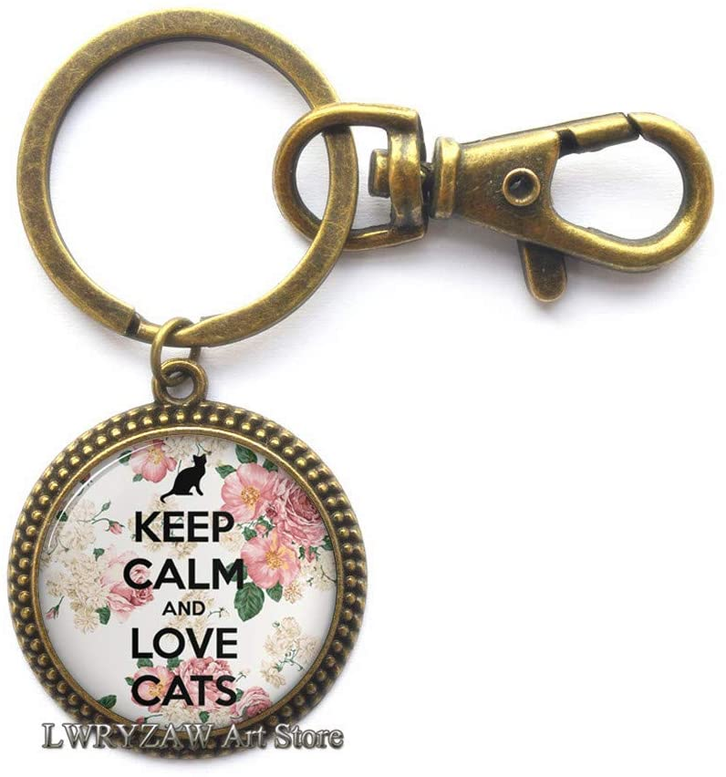 Keep Calm and Love Cats Keychain, cat Lover Gift, cat Lover Jewelry, cat jewellry, cat Lover Key Ring, cat Key Ring,M260
