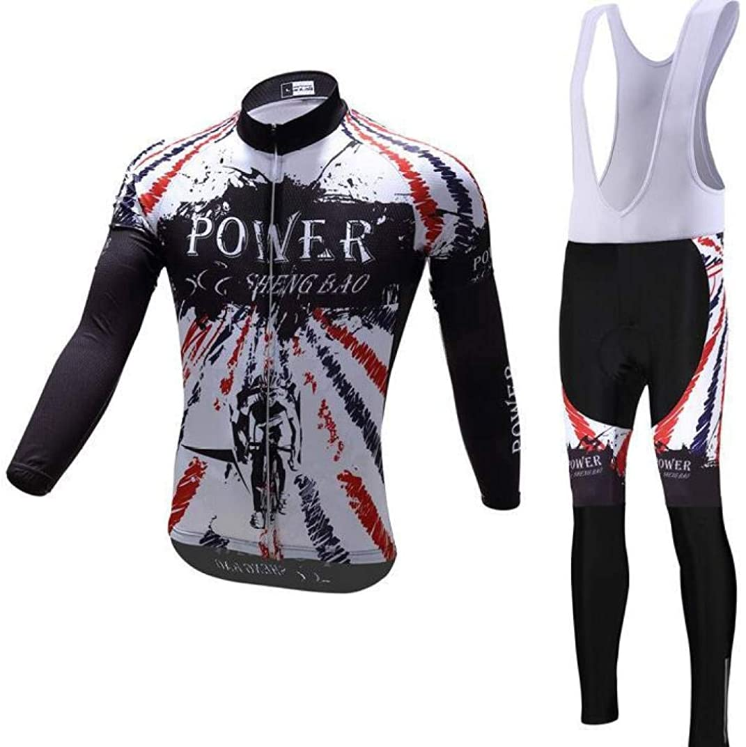 Mens Long Sleeve Cycling Suit Moisture Wicking Thermal Bicycle Bib Tights