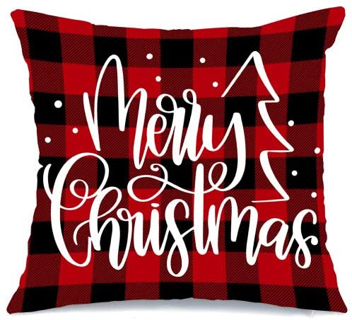 AENEY Christmas Pillow Cover 18x18 for Couch Red and Black Buffalo Check Plaid Marry Christmas Throw Pillow Farmhouse Decorations Home Decor Xmas Decorative Pillowcase Faux Linen Cushion Case Sofa