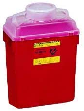 Becton Dickinson Sharps Container 1-Piece 17-1/2 H X 12-1/2 W 8-1/2 D Inch 6 Gallon Red Vertical Entry Lid, 305457 - Sold by: Pack of ONE