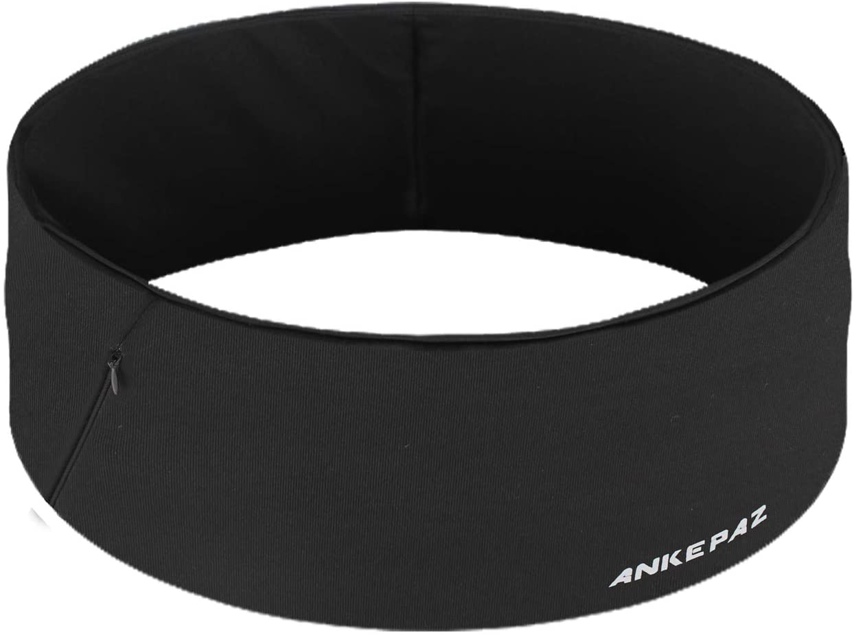 ANKEPAZ Unisex Travel Money Belt, Running Belt, Fanny and Waist Pack, 3 Large Security Pockets and Zipper, Fits Phones Passport and More, Extra Wide Spandex, Outdoor Sports Workout, Stand Wear & Tear