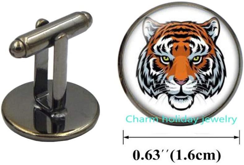 Tiger Charm Animal Cuff Links Wild Jewelry Beast Cufflinks,Tiger Cufflinks-Gifts for Her-Tiger Jewellery-Birthday Gift-#146