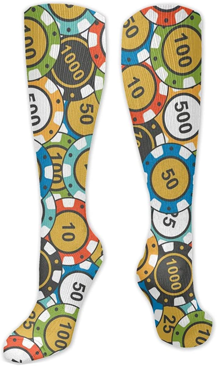 Men Women Knee High Socks Poker Cards Casino Chips Workout Hose Stockings