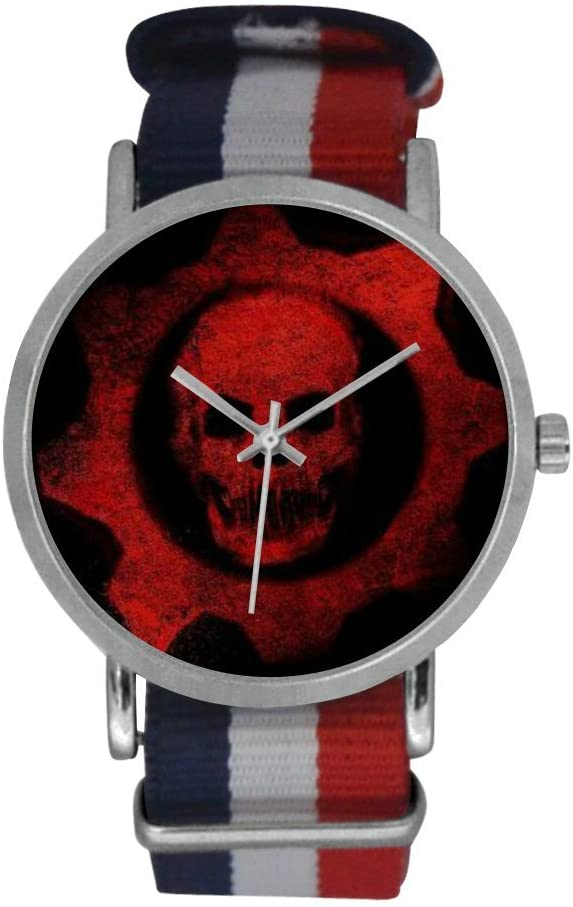QUICKMUGS2U Mysterious Red Skull Men's Stainless Steel Classic Large Face Quartz Analog Business Wrist Watch With Striped Nylon Band