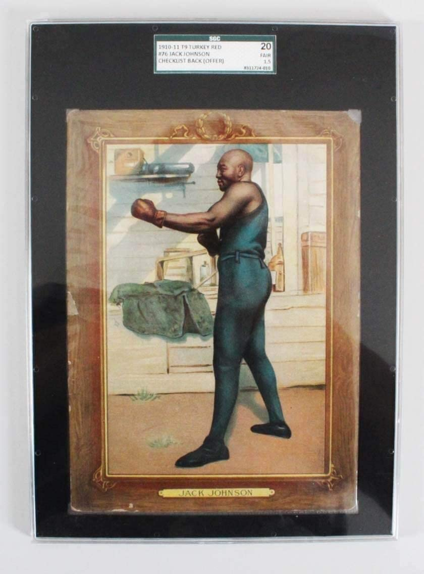 1910-11 T9 Turkey Red - Jack Johnson Photo Card - SGC - Boxing Cards