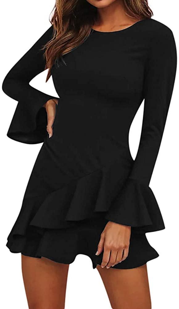 Passwolf Women Long Sleeve Solid Dress Ladies Casual Loose Ruffley Mini Dress