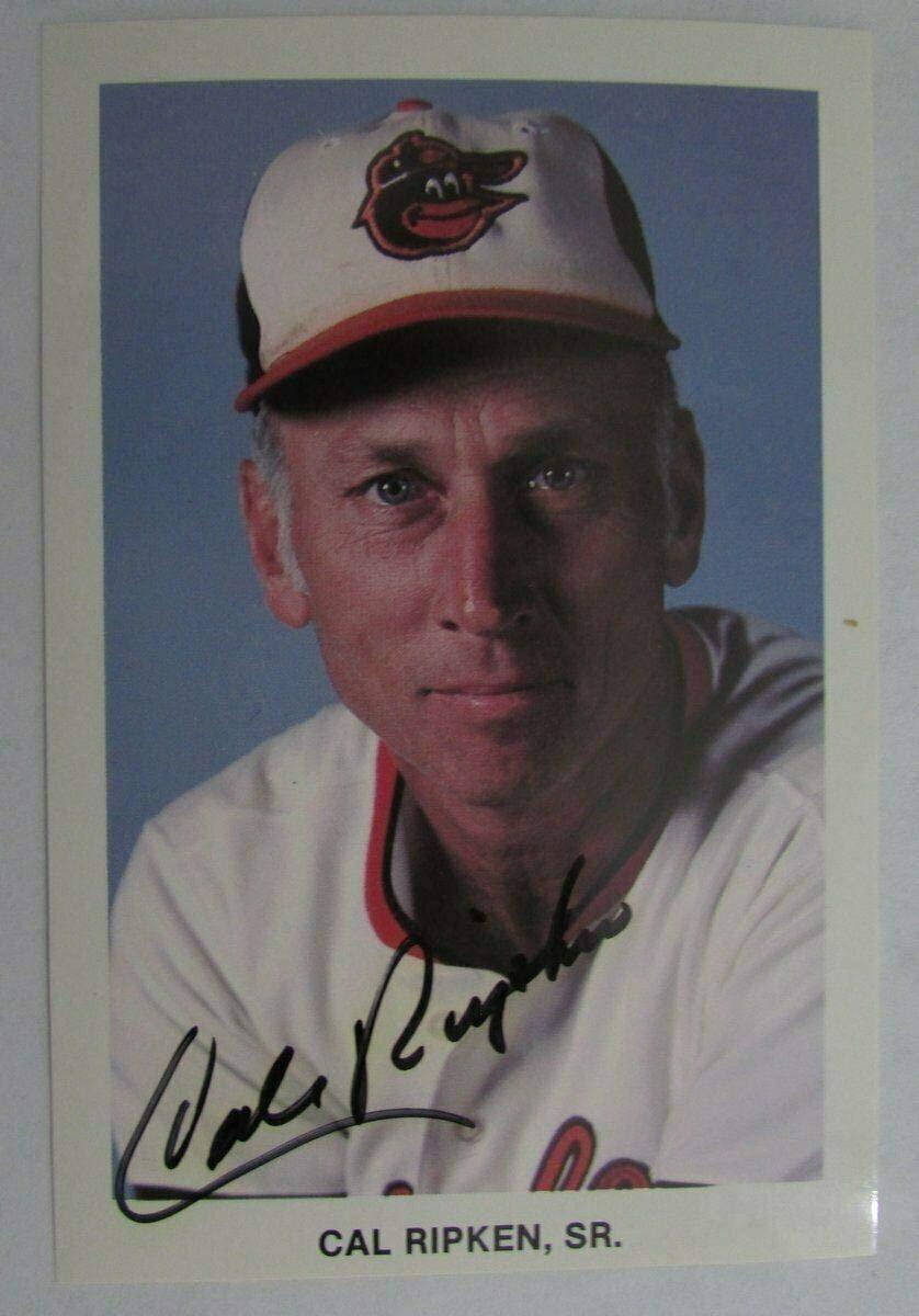 Cal Ripken Sr. Baltimore Orioles Signed Team Issued Postcard 149530 - MLB Cut Signatures