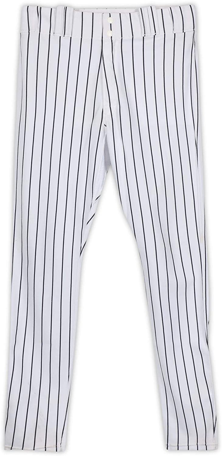 Starlin Castro New York Yankees Game-Used #14 White Pinstripe Pants from the 2017 MLB Postseason - JB769980 - Fanatics Authentic Certified
