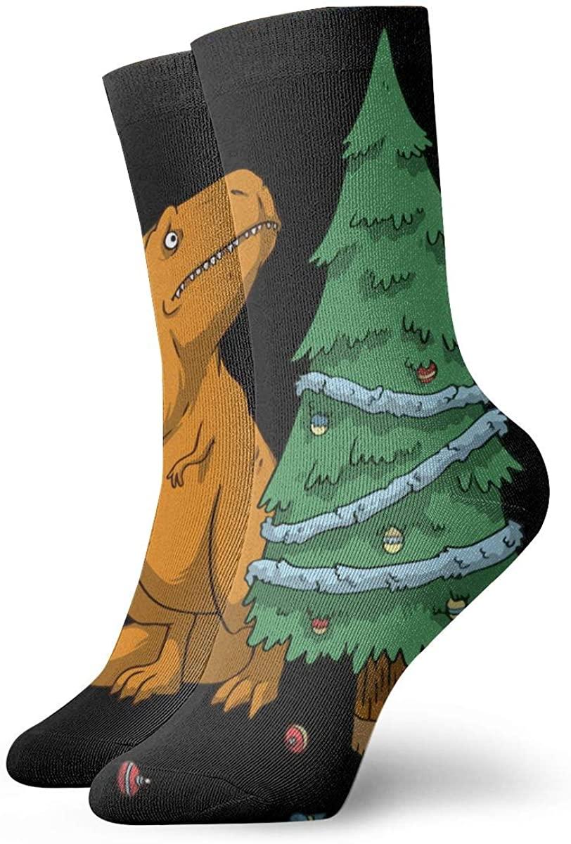 Cartoon Dinosaur Christmas Tree Short Crew Socks Athletic Tube Socks For Men Women