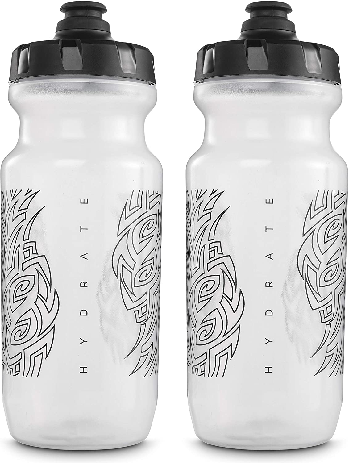 Peakline Sports - 2nd Gen Big Mouth Water Bottle (21 oz) by Specialized Bikes (2-Pack) (Clear/Black)