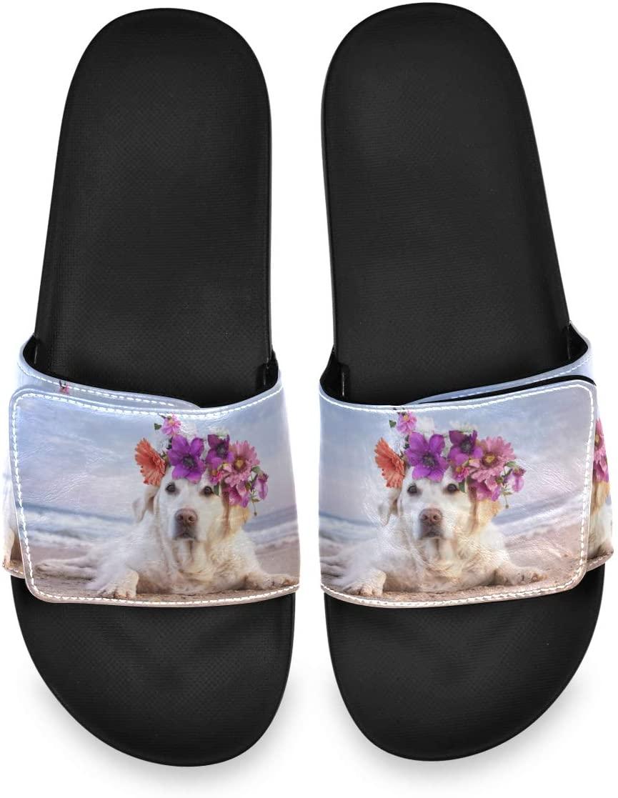 All agree Cute Labrador Dog On Beach Mens Summer Sandals Slide House Adjustable Slippers Open Toe Boys