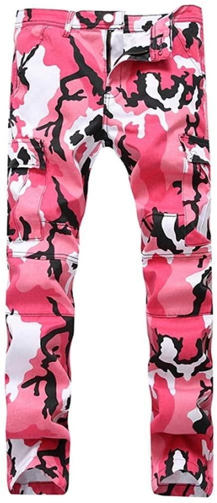 PUNKDBOTTO Camo Cargo Pants Mens Baggy Tactical Trouser Hip Hop Casual Cotton Multi Pockets Pants Streetwear