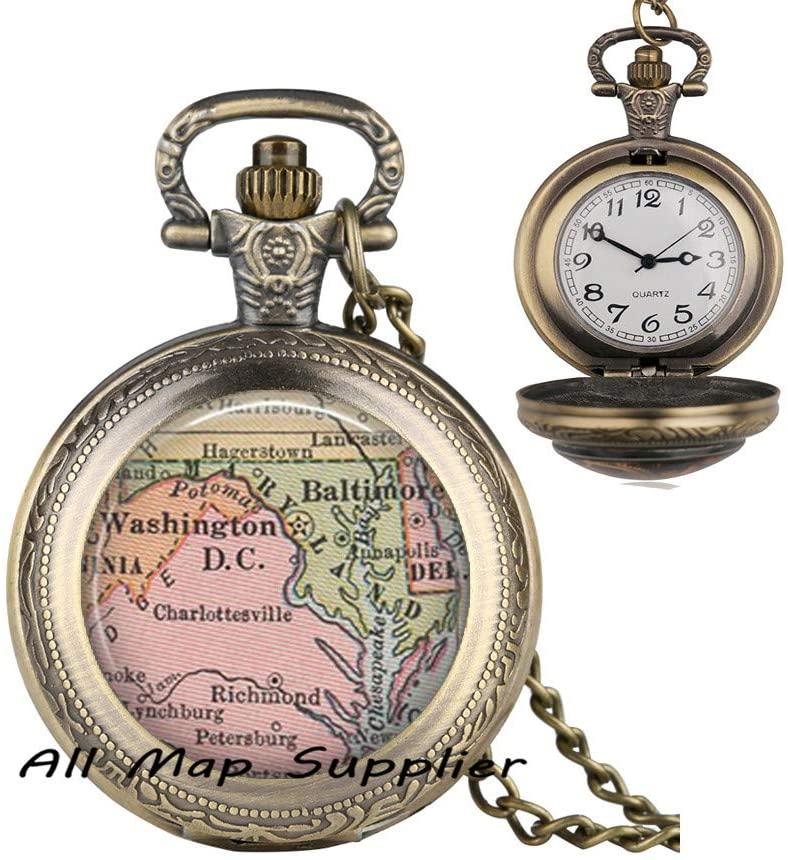 AllMapsupplier Fashion Pocket Watch Necklace,Maryland map Pocket Watch Necklace,Maryland Pendant,Maryland map Pendant,State map Jewelry,Washington DC Pendant,A0127