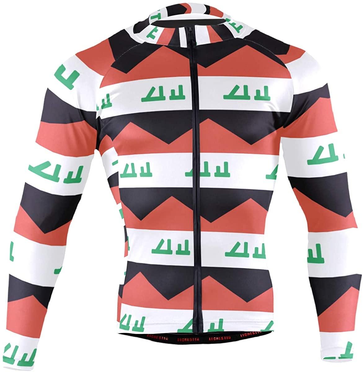 Iraq Flag Men's Long Sleeve Cycling Jersey Bicycle Jacket Pockets Full Zipper Bike Biking Shirts