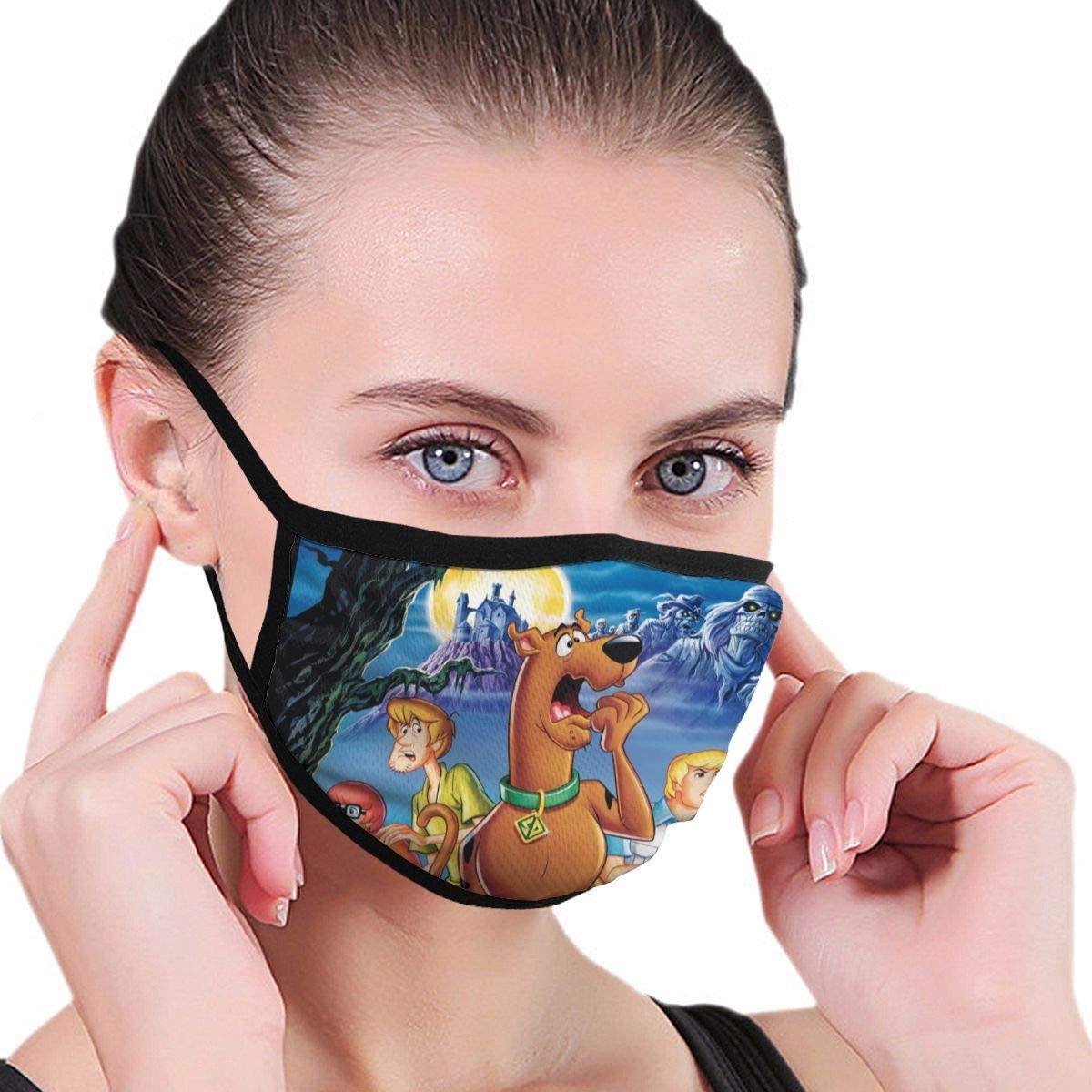 Qwtykeertyi Scooby Doo Fashion Protective Reusable Unisex Black Cotton Washable Balaclava