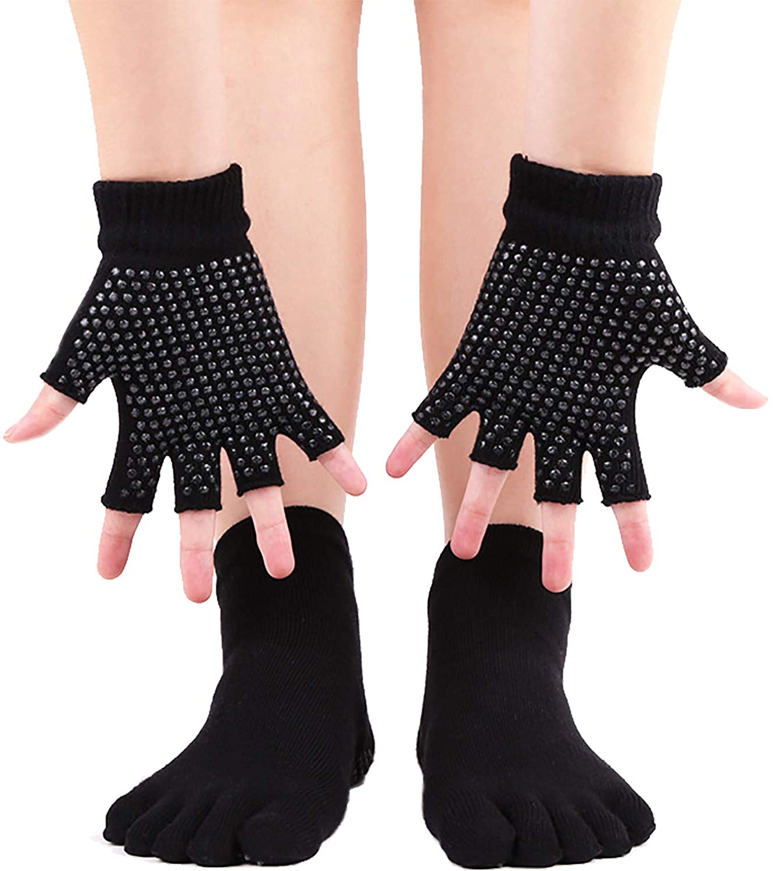 ANCHOVYYoga Gloves And Yoga Socks With Grips For Pilates Ballet Dance Socks 5-10, WZ11