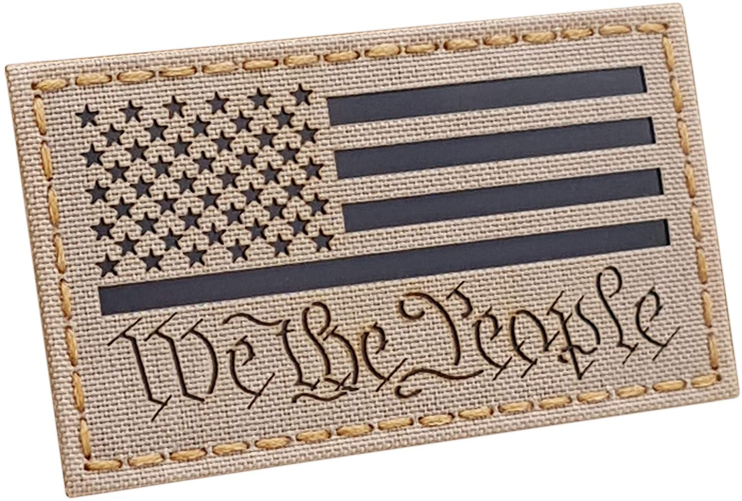 Tactical Freaky IR We The People America USA Flag Desert Sand Tan 2nd Amendment 2A ConstitutionTactical Morale Hook&Loop Patch